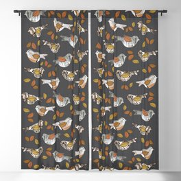 Graphic Birch Bark Birds and Fall Leaves Smokey Grey Stripe Blackout Curtain
