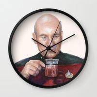 picard Wall Clocks featuring Tea. Earl Grey. Hot. Captain Picard Star Trek | Watercolor by Olechka