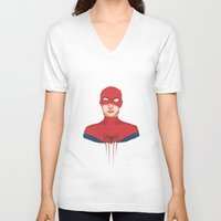 spider man V-neck T-shirts featuring Spider-man by parkers