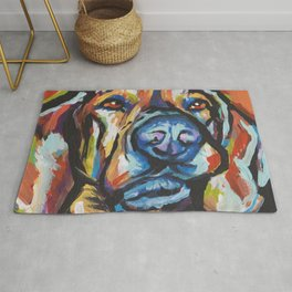 Fun Plott Hound Dog Portrait bright colorful Pop Art Rug