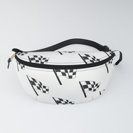 Black and White Checkered Flag Racing Finish Line Pattern Fanny Pack