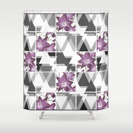 Pink lilies on grey triangles . Shower Curtain