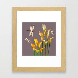GOLD CALLA LILIES & DRAGONFLIES ON GREY Framed Art Print