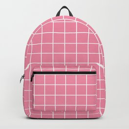 Vanilla ice - pink color -  White Lines Grid Pattern Backpack