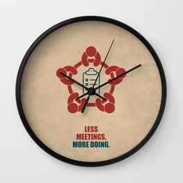 Lab No. 4 -Less Meetings, More Doing Corporate Startup Quotes poster Wall Clock