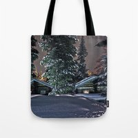 finland Tote Bags featuring Winter in Lapland Finland  by Guna Andersone & Mario Raats - G&M Studi