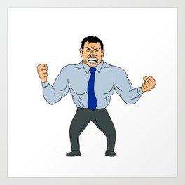 Angry Businessman Cartoon Art Print