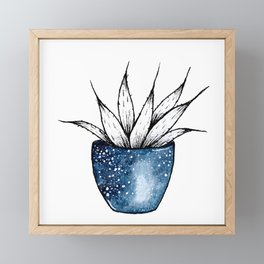 Galaxy Plant | Ink and Watercolor Framed Mini Art Print