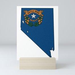 Nevada Map with State Flag Mini Art Print