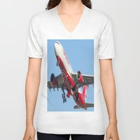 airplanes V-neck T-shirts featuring Air Berlin Airbus A330-223 Take-off Miami airplanes USA D-ALPJ by Yan David