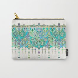 Art Deco Double Drop in Jade and Aquamarine on Cream Carry-All Pouch