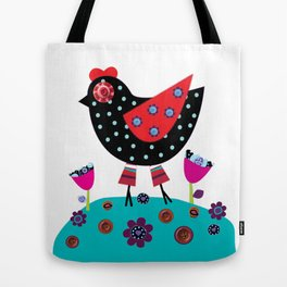 Polka dot & Buttons Hen  Tote Bag