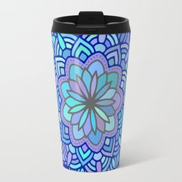Heart mandala Pattern on Dark Blue Background Travel Mug