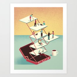Work in a briefcase Art Print