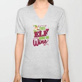 This Elf Runs On Wine Christmas Wine Lover Unisex V-Neck