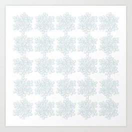 Crocheted Snowflake Ornaments - white on white with touch of teal Art Print