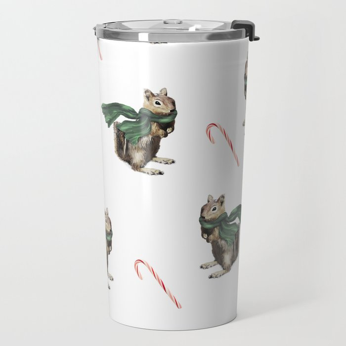 Winter Chipmunk and Candy Canes Travel Mug