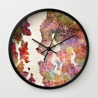 seattle Wall Clocks featuring Seattle by MapMapMaps.Watercolors