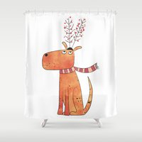 antler Shower Curtains featuring The Antler Hat by Nic Squirrell