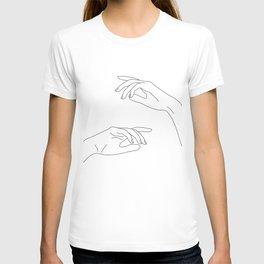 Hands line drawing - Bel T-shirt