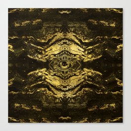 All Seeing eye golden texture on aged wood Canvas Print