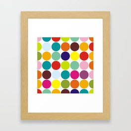 Rainbow colorful large polka dots Framed Art Print