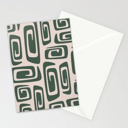 Mid Century Modern Cosmic Abstract 514 Green and Beige Stationery Cards