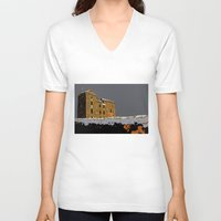 scotland V-neck T-shirts featuring Scotland Winter by dacarrie