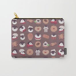 Cookie & cream & penguin - brown  pattern Carry-All Pouch