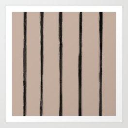 Skinny Strokes Gapped Vertical Black on Nude Art Print