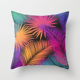 Tropical Palm Leaves Rainbow Color Contemporary Art Throw Pillow