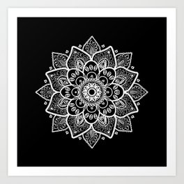 White Mandala On Black Art Print