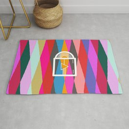 Dark side of the moon collage Rug
