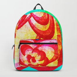 Red Abstract Flower Backpack