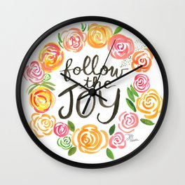Follow the Joy with Yellow and Pink Roses Wall Clock