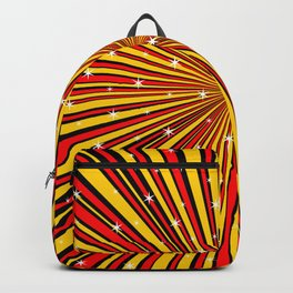 Red Yellow Black And Rays Background With Stars Backpack