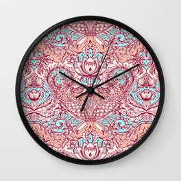Natural Rhythm - a hand drawn pattern in peach, mint & aqua Wall Clock