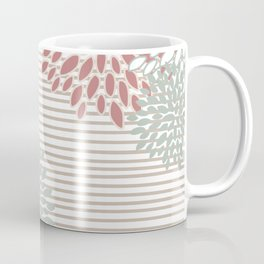 Festive, Floral Prints, Blooms and Stripes, Navy, Green and Dusky Pink Coffee Mug