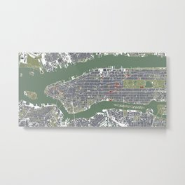 New York city map engraving Metal Print