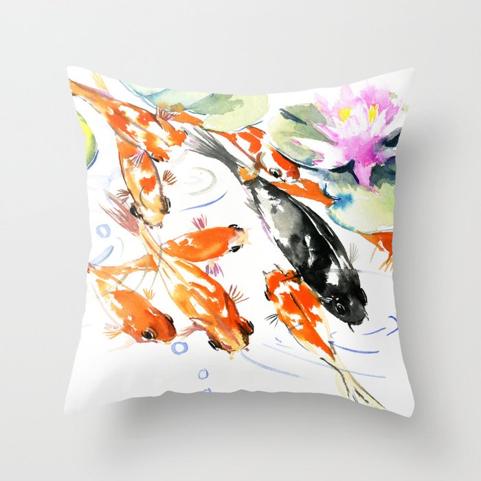 Nine koi fish 9 koi feng shui artwork asian watercolor for Koi fish pillow
