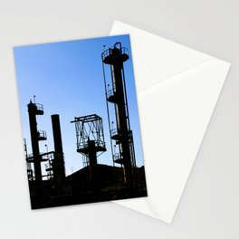 Silhouette Oil Refinery In Ventura Stationery Cards
