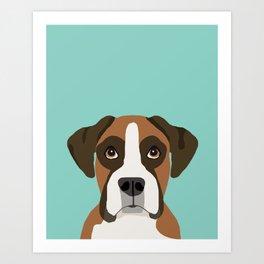 Boxer pet portrait cute dog lover rescue dog lover Boxer portrait dog breeds Art Print