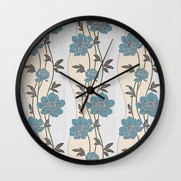 Greenish Blue Flower Garland Wall Clock