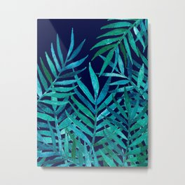 Watercolor Palm Leaves on Navy Metal Print