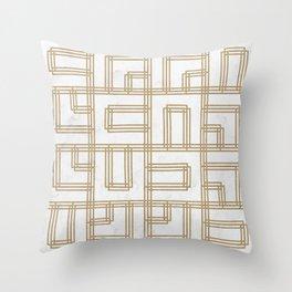 Golden Deco Lines Pattern Throw Pillow