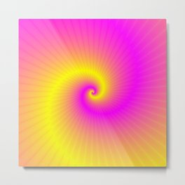 Pink and Yellow Spiral Metal Print