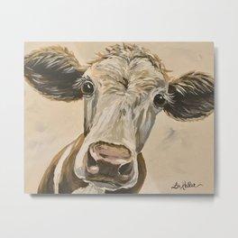 Cute Cow Art, Up close Cow Art Metal Print