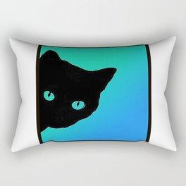 Black Cat Blue Green Tshirt Rectangular Pillow