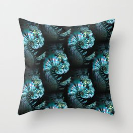 Modern paisley - Mystic fractal swirls pattern Throw Pillow