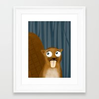 beaver Framed Art Prints featuring Beaver by makoshark